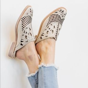 Free People Off White Paramount Laser Cut our Mule